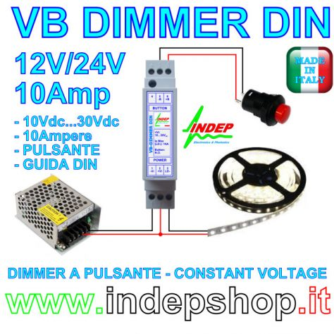 Dimmer 12V / 24V a pulsante per strisce led - made in Italy - Foto 2