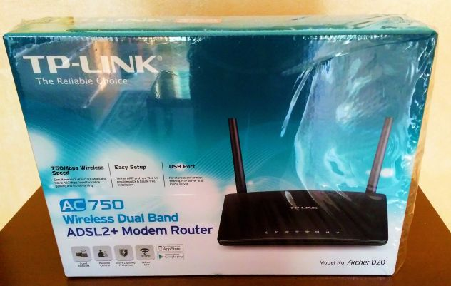 Modem Router TP-LINK AC750 Archer D20 Wireless Dual Band ADSL2+