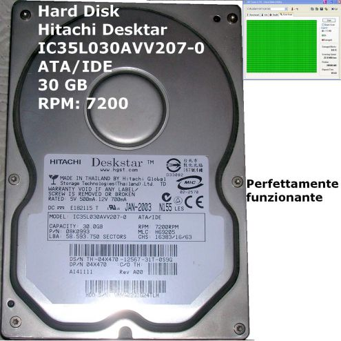 HDD Hard Disk HITACHI Deskstar ATA IDE PATA 30 GB Rpm 7200 Model: IC35L030A …