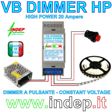 Dimmer a pulsante per strisce led - 20Amp 480W - Made in Italy - Foto 3