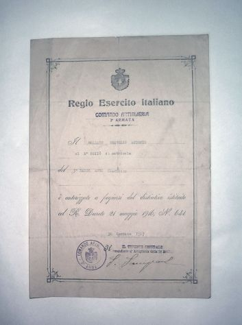 Documento del regio esercito italiano, 1917