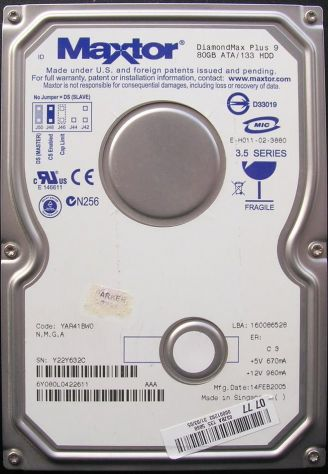 PCB HARD DISK Maxtor Diamond Plus 9 80 GB ATA/133 HDD 3,5 SERIES  Dati - Foto 3