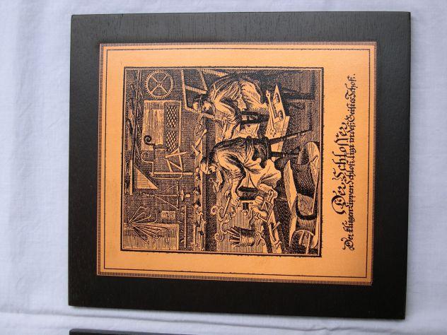 Antico quadro con incisione in rame Der Schlosser - fabbro