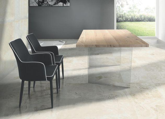 Tavolo in rovere impiallacciato con struttura in vetro Cod 003M