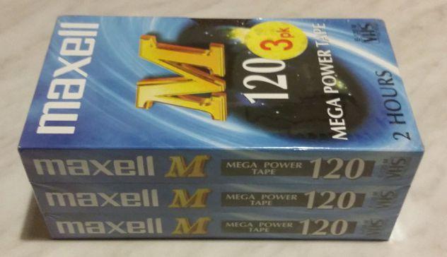 3 Videocassette Maxell Mega Power Tape 120+box 5 custodie VHS Nuovo cellophane