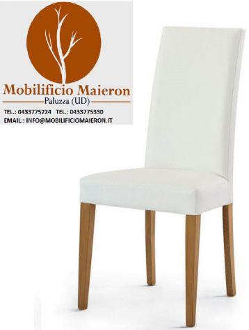 Sedie in Legno Imbottite per Arredamento Ristorante Bar Pizzeria 3041A - Foto 3