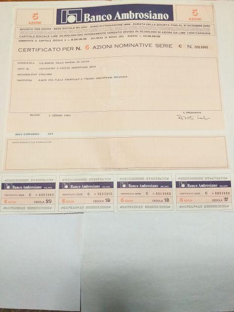 Vecchi originali certificati azionari Banco Ambrosiano