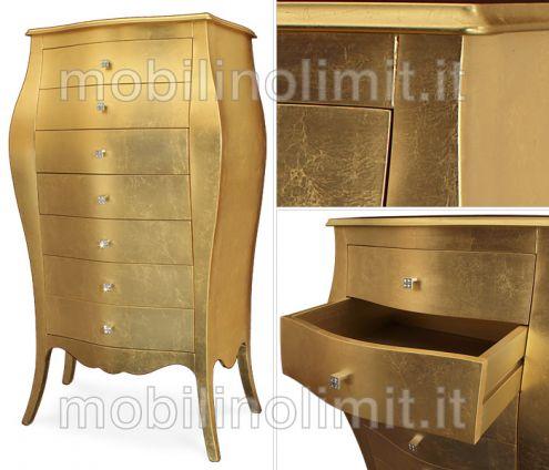 Settimino - Cassettiera 7 cassetti foglia oro - Nuovo - Annunci Aosta