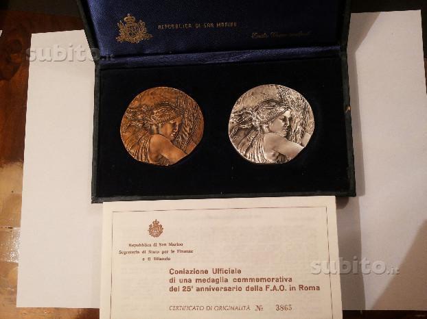 Medaglie comm xxv anniversario FAO San Marino1976
