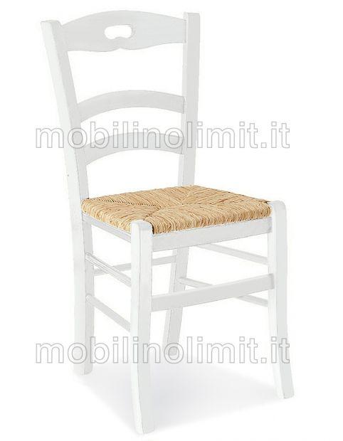 Sedia In Faggio Bianca con Seduta in Paglia - Nuovo