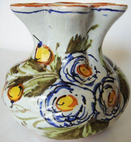 De Ruta-Vaso ceramica smaltata dipinta a mano-cm. 22h.x 14-ca.1965