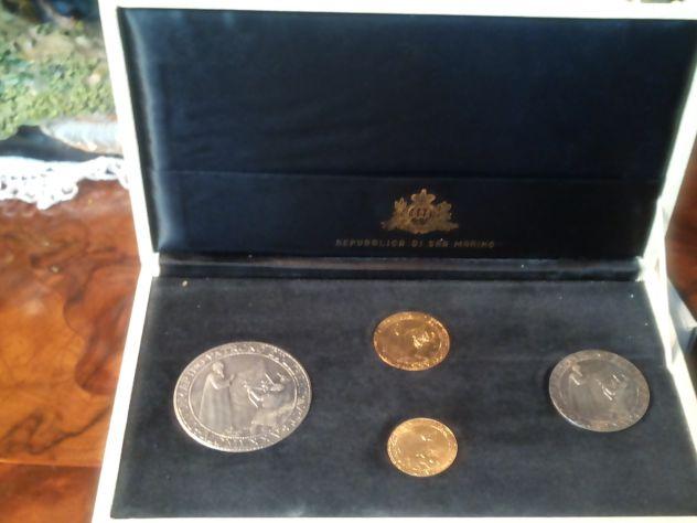 Antichi SIGILLI San Marino BOX 2oro (13,5 gr)+2arg (32 gr) anno 1975