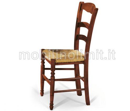 Sedia Tornita con seduta in Paglia - Nuovo
