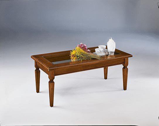 Tavolino da salotto con vetro stile arte povera cod 10939
