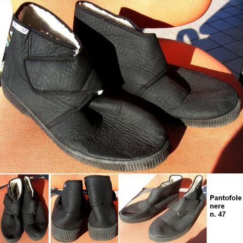 Pantofola uomo chiusura strappo suola gomma tessuto cerato imbottite, - Foto 2