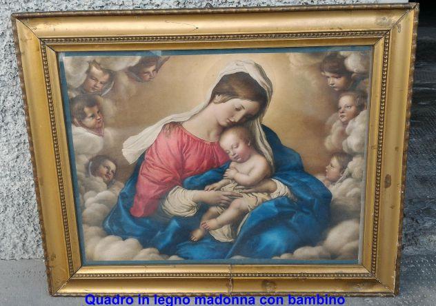 Quadro in legno madonna con bambino