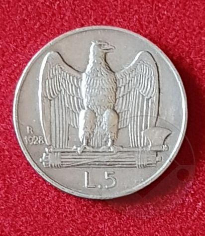 ITALIA 1928 Moneta 5 lire Argento SPL