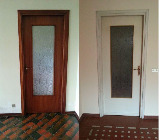Porte interne buono stato colore mogano e bianche con maniglie/vetro ...
