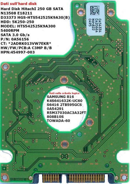 PCB Hitachi 250 GB Sata HTS542525K9A300 Scheda logica Hard disk Dati sulla  … - Foto 2