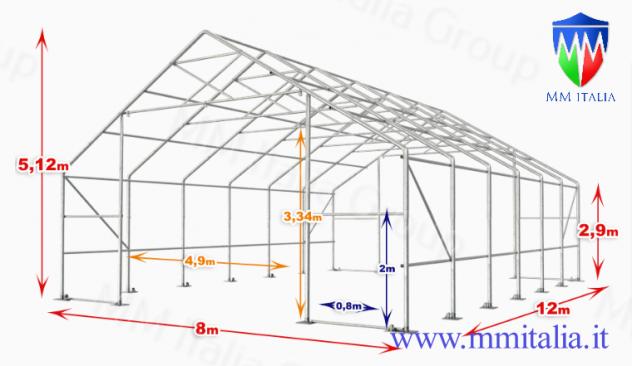 Tensostruttura Industriale a prezzo eccezionale 8,0 x 12,0 x 5,12 mt. - Foto 3