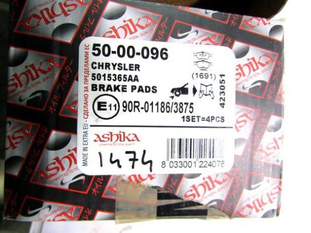 50-00-096 KIT PASTIGLIE FRENO ANTERIORI ASHIKA CHRYSLER VOYAGER 2.8 110KW R … - Foto 3