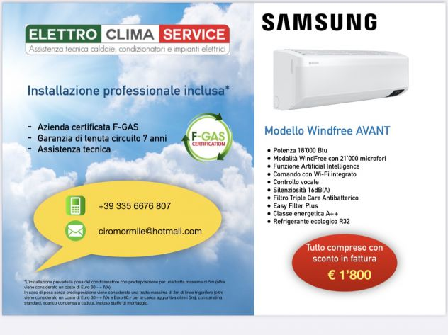 Installazione Condizionatore Samsung con SCONTO IN FATTURA
