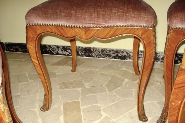 POLTRONE SEDIE STILE LUIGI XV,noce massello,bois de rose,bronzi dorati e borchie - Foto 3