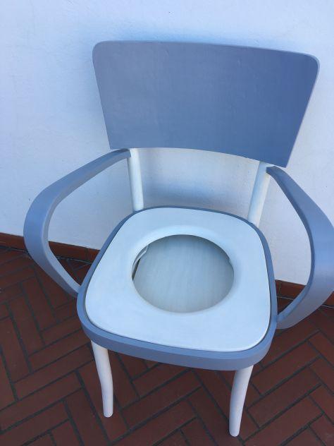 sedia - poltrona (comoda) degli anni 40 vintage shabby bianco grigio - Foto 4