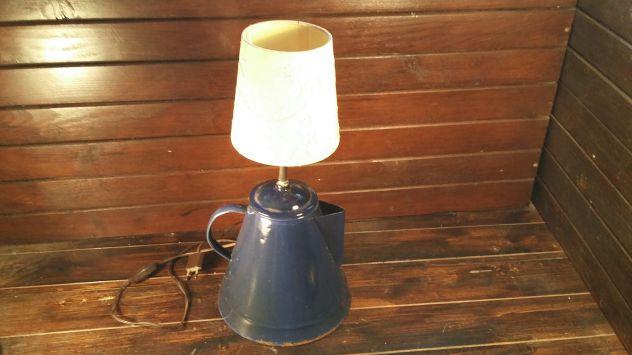 V50 riuso lampada base scaldacaffe' smalto vecchio d'epoca