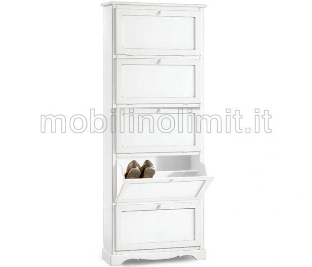 Scarpiera 5 porte - Bianco Opaco - Nuovo