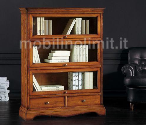 Libreria con cassetti e ante in Vetro (grezza) - Nuovo