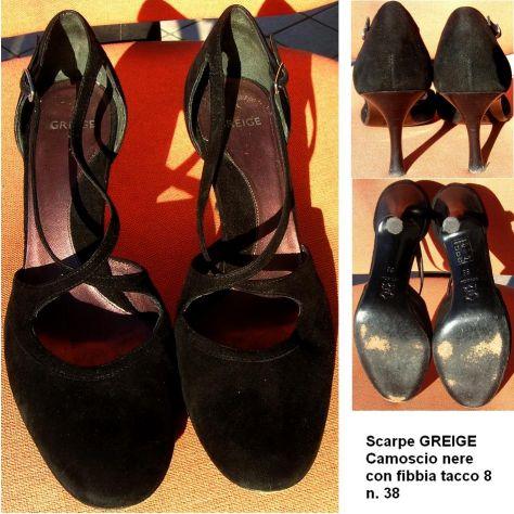 Scarpe Donna Greige decollettes nere camoscio 38 tacco 8 con fibbia - Foto 3