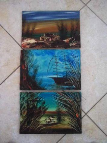 Tre quadri con paesaggi