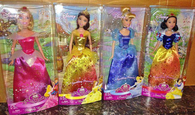 Lotto 4 bambole disney princess principesse aurora biancaneve belle cenerentola