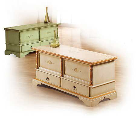 Cassapanca con 2 cassetti decorato laccato decorato cod 7101
