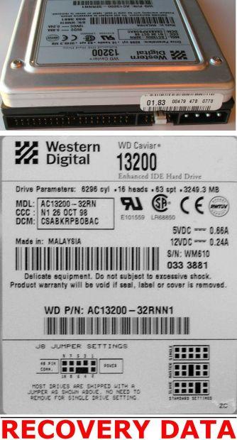PCB SCHEDA LOGICA per Hard Disk WESTERN DIGITAL WD Caviar 13200 IDE - Foto 3