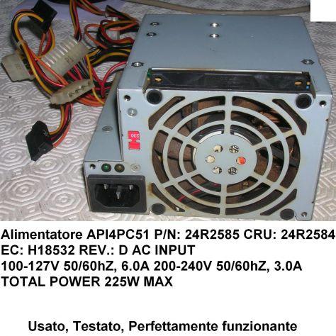 Alimentatore IBM API4PC51  24R2585 24R2584 Originale P/N: 24R2585 CRU: