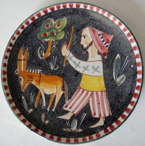 Piatto-ceramica smaltata dipinto a mano-Vietri-Lab. Ceramica ICAV Giorda