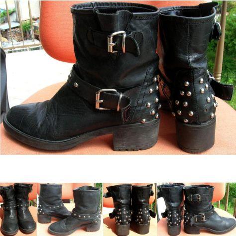 Scarpe Stivali Stivaletti donna pelle nero borchie fibbia cinta suola - Foto 2