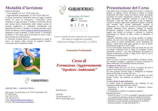 """Corso di Formazione per """"Ispettore Ambientale"""" (comunale/volontar …"""