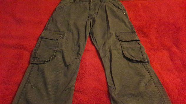 Pantaloni stoffa Owk grigi a quadri tasconi Tg 46 - NUOVI