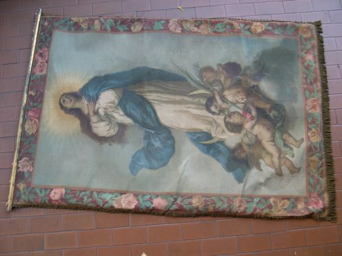 Antico arazzo stendardo dipinto Maria Assunta