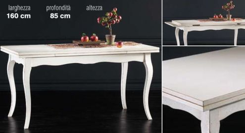 Tavolo allungabile bianco anticato mobili in arte povera for Tavolo cucina bianco allungabile