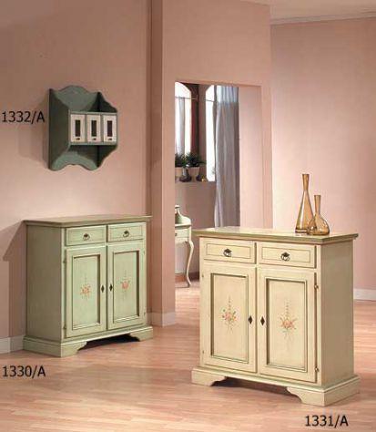 Credenza 2 porte 2 cassetti laccato decorato cod 7606