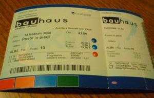 Biglietto concerto BAUHAUS 13/02/2006