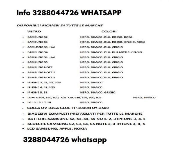 VETRO SAMSUNG S3 S4 S5 S6 NOTE 2 3NEO 4 IPHONE 3 4 Euro 5 - Foto 2