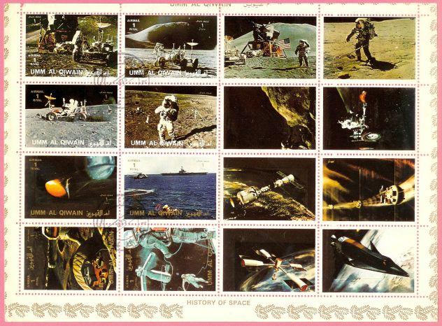 UMM AL QIWAIN 1972 fogliettto VIAGGIO LUNARE