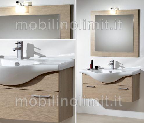 Mobile Bagno Sospeso - Rovere Sbiancato (105 cm) - Nuovo