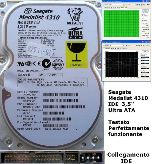 Seagate Medalist 4310 ST34310A 4,3 GB Ultra ATA IDE Hard Disk 3,5''.