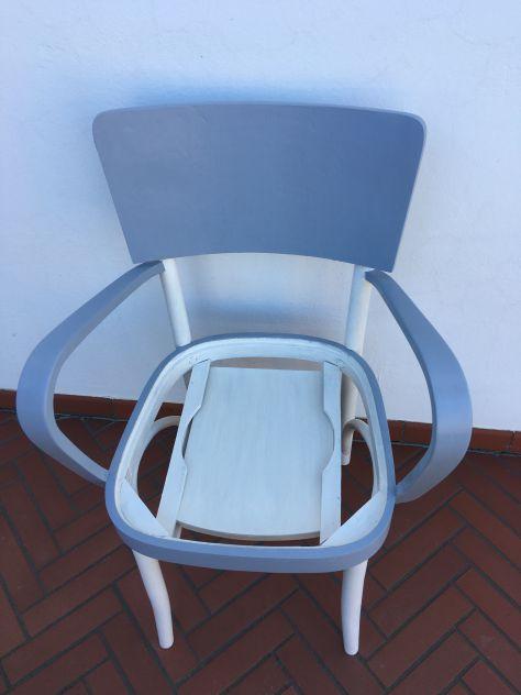 sedia - poltrona (comoda) degli anni 40 vintage shabby bianco grigio - Foto 5